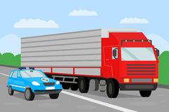 Police Escort and Trailer Flat Vector Illustration. Police Car on Convoy Mission. Providing Security for Goods Transportation Color Drawing. Logistics and stock illustration