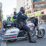 Police escorts on motorbikes oversees the order Royalty Free Stock Image