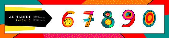 Police et nombres d'alphabet latin Le vecteur a stylis? 6 color?s, 7, 8, 9, 0 ensembles de chiffre Conception de typographie et illustration de vecteur