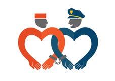 Police et prisonnier enchaînés Illustration humoristique de concept d'amour Illustration Stock