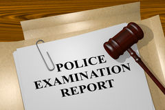 Police Examination Report - legal concept. 3D illustration of POLICE EXAMINATION REPORT title on legal document Royalty Free Stock Images