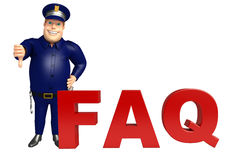 Police with FAQ sign. 3d rendered illustration of Police with FAQ sign Royalty Free Stock Photography