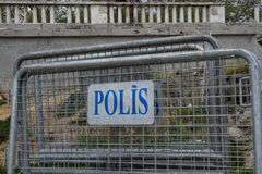 Police Fence in Istanbul, Turkey Royalty Free Stock Photos
