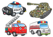 Police fire ambulance tank cartoon Stock Images