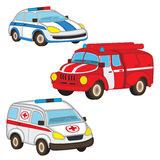 Police fire ambulance. Vector illustration, eps-10 Royalty Free Stock Photo
