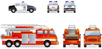 Police and Fire Cars Stock Photography