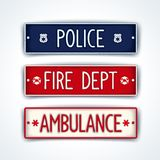 Police, fire department, ambulance car signs. Car license plate for emergency services - police, fire department, ambulance. Vector eps 10 Stock Image