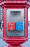 Police & Fire Department call box, alarm box, Gamewell box, close-up, Manhattan, New York City, NY. Police and Fire Department call box, alarm box, Gamewell box stock photo