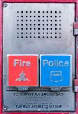 Police and Fire Department call box, alarm box, Gamewell box, close-up, Manhattan, New York City, NY royalty free stock photo