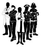 Police Fire Doctor Emergency Team Silhouettes. Silhouette emergency rescue services worker team with male and female police, fireman and doctors Royalty Free Stock Image