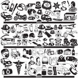 Police firefighter medical. Great vector collection of different police firefighter and medical profession black icons Royalty Free Stock Photos