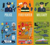 Police, firefighter and military profession banner. Set. Policeman, fireman, army soldier or officer professional in uniform with fire fighting equipment, tool Royalty Free Stock Photography
