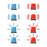 Police flasher, siren vector set. Stock Photo