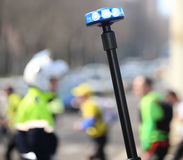 Police flashing siren and a traffic officer. On the street stock images