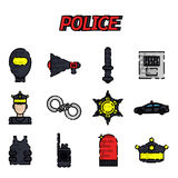 Police flat icon set Stock Photography