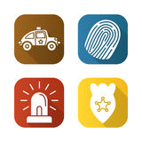 Police flat long shadow icons set. Car, finger print, flasher, police badge.  vector illustration Stock Photo