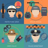Police flat set Royalty Free Stock Photo