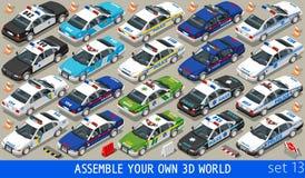 Police 01 Flat Vehicle Isometric Royalty Free Stock Photo