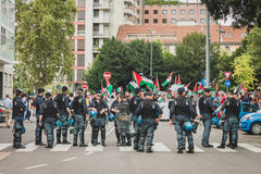 Police follows people protesting against Gaza strip bombing in Milan, Italy Royalty Free Stock Photos