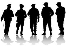 Police force. Image of police on street during Stock Photo