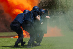 Police force in action. Police force in anti terrorist action stock image