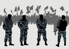 Police force and demonstrators. Vector drawing of a police force and demonstrators.Saved in the eps Stock Images