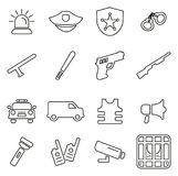 Police Force Icons Thin Line Vector Illustration Set. This image is a vector illustration and can be scaled to any size without loss of resolution Stock Image