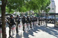 Police forces in the center of Belgrade stock photo