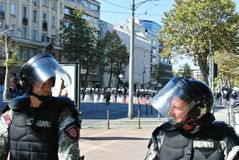 Police forces in the center of Belgrade Royalty Free Stock Photography