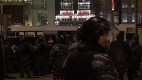 Police in full gear near the opposition rally in Moscow stock video