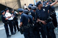 Police Gather in New York City. The men in blue near the Staten Island Ferry stock image
