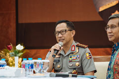Police General Tito Karnavian. Police-General Tito Karnavian is the current Chief of Indonesian National Police. this photo was taken during Dialog Polri 8 Stock Photography
