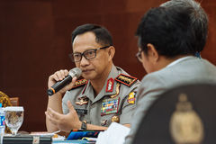 Police General Tito Karnavian. Police-General Tito Karnavian is the current Chief of Indonesian National Police. this photo was taken during Dialog Polri 8 Stock Photos
