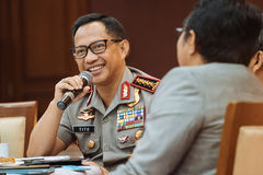 Police General Tito Karnavian. Police-General Tito Karnavian is the current Chief of Indonesian National Police. this photo was taken during Dialog Polri 8 Royalty Free Stock Images