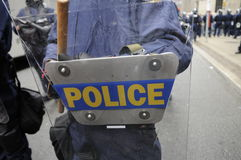 Police getting ready. stock images