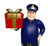 Police with Giftbox. 3d rendered illustration of Police with Giftbox Stock Photos