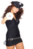 Police girl holding dvd disc Royalty Free Stock Images