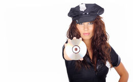 Police girl holding dvd disc Stock Photos