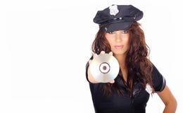 Police girl holding dvd disc Stock Photos