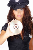 Police girl holding dvd disc Royalty Free Stock Image
