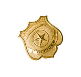 Police golden badge. Isolated on white background stock photo
