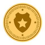 Police golden digital coin icon. gold yellow flat coin cryptocurrency symbol isolated on white. eps 10.  Stock Images