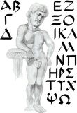 Police grecque avec un caractère de statue Photo stock