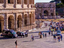 Police guarding the Colosseum Stock Image