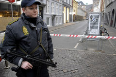 POLICE GUARDING SYNAGOGUE Stock Photos