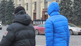 Police guarding the regional administration in Kharkiv - March 2014. Police protect the building of local government from the assault antimaydanovtsev and pro stock video footage