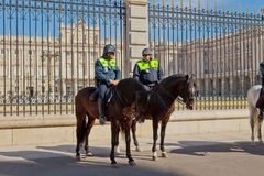 Police guards at the Palacio Real, Madrid Royalty Free Stock Photography