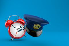 Police hat with alarm clock. On blue background. 3d illustration Royalty Free Stock Images
