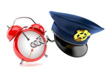 Police hat with alarm clock. Isolated on white background. 3d illustration Stock Image