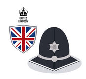 police hat icon. United kingdom design.  graphic Stock Photos